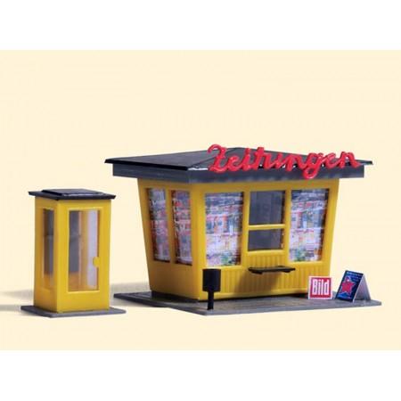 Газетный киоск с телефонной будкой Auhagen 12340